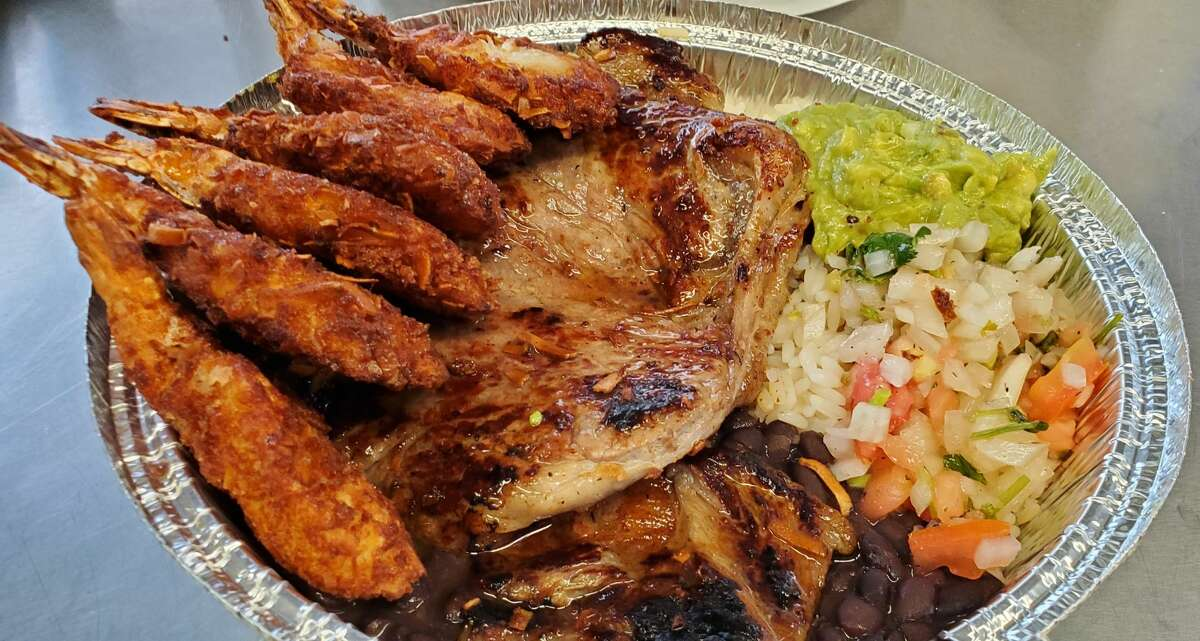 Carne Asada with Coconut Shrimp from Daniel's Food Truck. The truck, which won in the Best of the Gold Coast 2020 competition, has introduced three new menu items for mid-2020, including a bandeja, which is comprised of three different meats, and fried tilapia with coconut shrimp.  However, Carillo loves the old favorites that remain staples on the menu board.