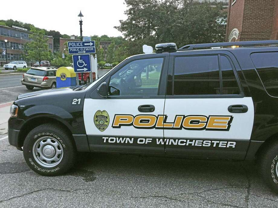 A Winchester police car, as seen outside of the department in Winsted. Photo: Ben Lambert / Hearst Connecticut Media