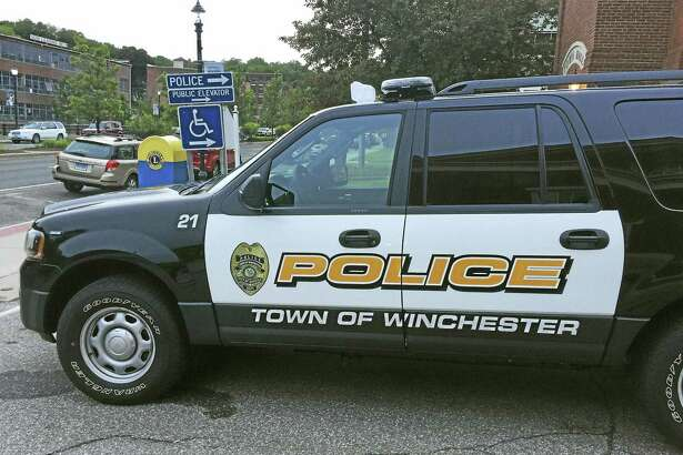 A Winchester police car, as seen outside of the department in Winsted.