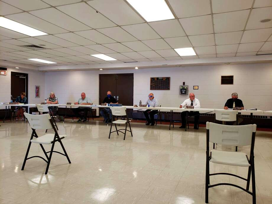 The Huron County commissioners during this week's meeting. They heard from Judge David Clabuesch about the latest progress regarding merging the probate courts of Huron and Sanilac Counties. (Robert Creenan/Huron Daily Tribune)