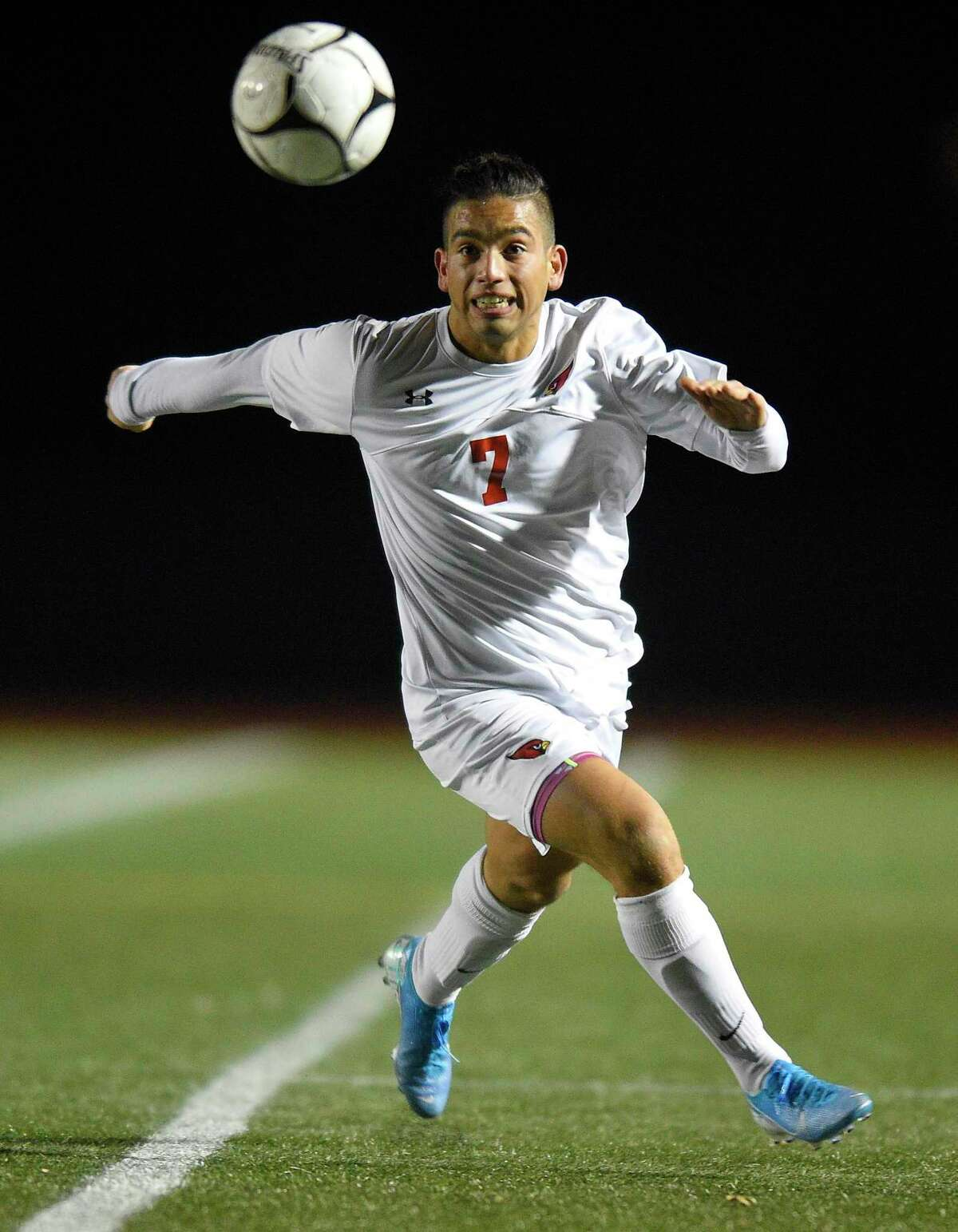 Greenwich's Farid Ghallya (7) charges the ball in the first half against Hall in a CIAC Class LL Boys Soccer State Championship at Veterans Memorial Stadium on Nov. 23, 2019 in New Britian, Connecticut.