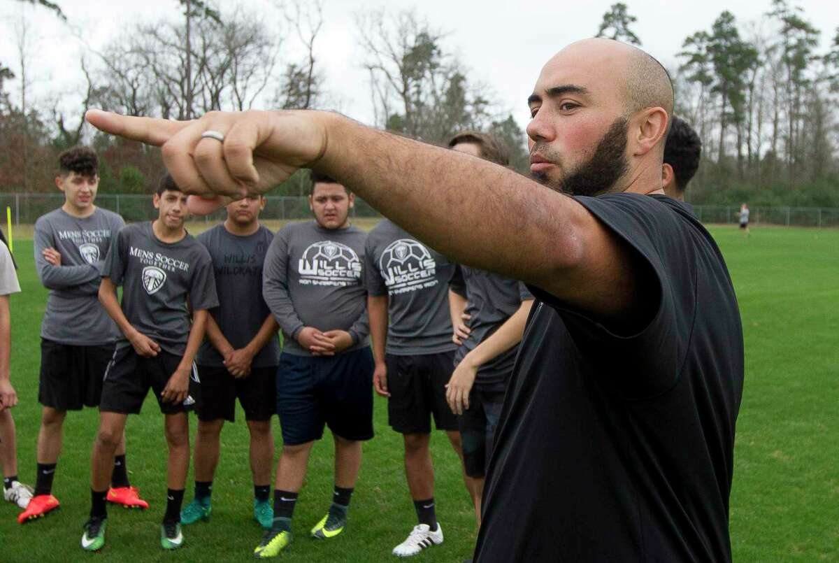 Thomas Stout, shown here coaching the Willis boys soccer program in late 2016, returns to the school as the Ladykats head coach.