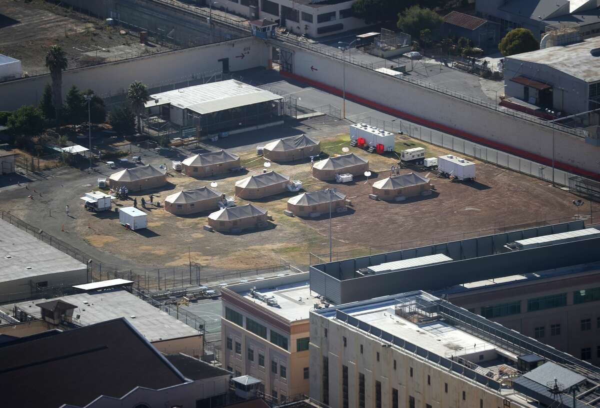 A view of a new emergency care facility that was erected to treat inmates infected with COVID-19 at San Quentin State Prison on July 08, 2020 in San Quentin, California. Over 1,400 inmates and staff at San Quentin State Prison have become infected with coronavirus COVID-19 after inmates from a Chino, California prison. Six inmates have died from the virus. An emergency care facility was erected on the baseball field to treat inmates suffering from one the largest outbreaks of COVID-19 in the nation.