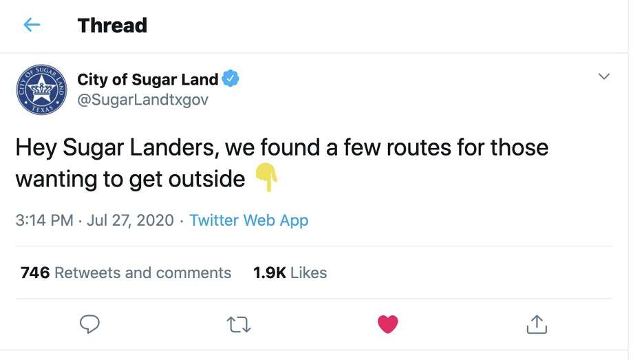 @SugarLandtxgov on Twitter:Hey Sugar Landers, we found a few routes for those wanting to get outside Photo: Twitter