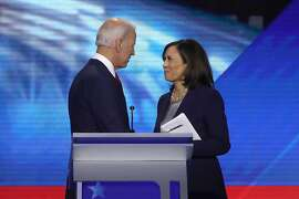 Democratic presidential candidates former Vice President Joe Biden and Sen. Kamala Harris (D-CA) speak after the Democratic Presidential Debate at Texas Southern University's Health and PE Center on Sept. 12, 2019 in Houston, Texas. (Win McNamee/Getty Images/TNS)