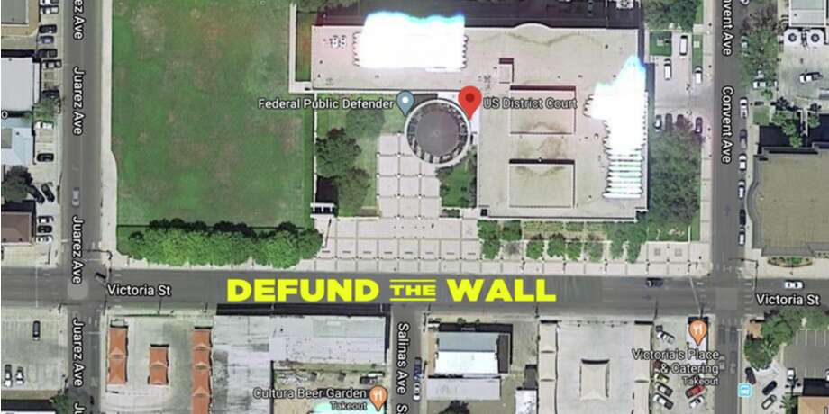 Shown is an aerial rendering for the street mural planned for outside the federal courthouse in Laredo. Photo: Courtesy Of The No Border Wall Coalition
