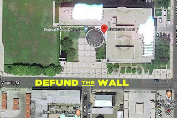 Shown is an aerial rendering for the street mural planned for outside the federal courthouse in Laredo.