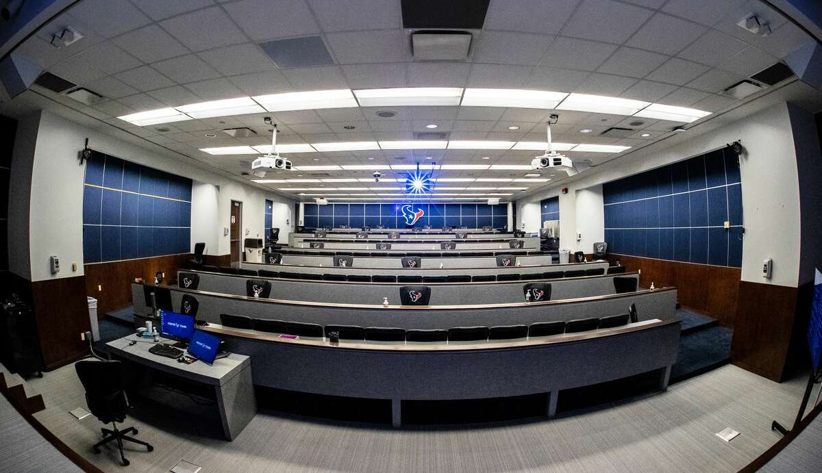 Part of the Texans' facility upgrades regarding COVID-19 protection includeslimited seating in the team auditorium.