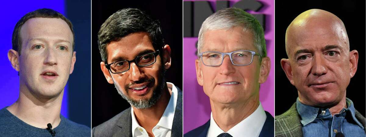 (FILES) This file combination of file pictures created on July 07, 2020 shows (L-R) Facebook CEO Mark Zuckerberg in Paris on May 23, 2018; Google CEO Sundar Pichai Berlin on January 22, 2019; Apple CEO Tim Cook on October 28, 2019 in New York and Amazon Founder and CEO Jeff Bezos in Las Vegas, Nevada on June 6, 2019. - The four major tech firms whose chief executives are testifying at a congressional antitrust hearing on July 27, 2020 face a variety of complaints about their dominance in the US and elsewhere. Investigations are being led by antitrust enforcers at the Justice Department, Federal Trade Commission and by authorities in US states. (Photos by AFP) (Photo by BERTRAND GUAY,TOBIAS SCHWARZ,ANGELA WEISS,MARK RALSTON/AFP via Getty Images)