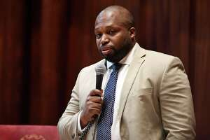 State Sen. Gary Winfield, D-New Haven speaks during special session at the State Capitol, Tuesday, July 28, 2020, in Hartford, Conn. (AP Photo/Jessica Hill)
