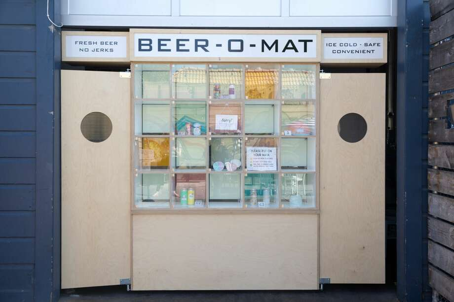 Temescal Brewing is using a contactless ordering system called the Beer-O-Mat for customers at the outdoor beer garden in Oakland's Temescal neighborhood. Photo: Douglas Zimmerman/SFGATE / SFGATE