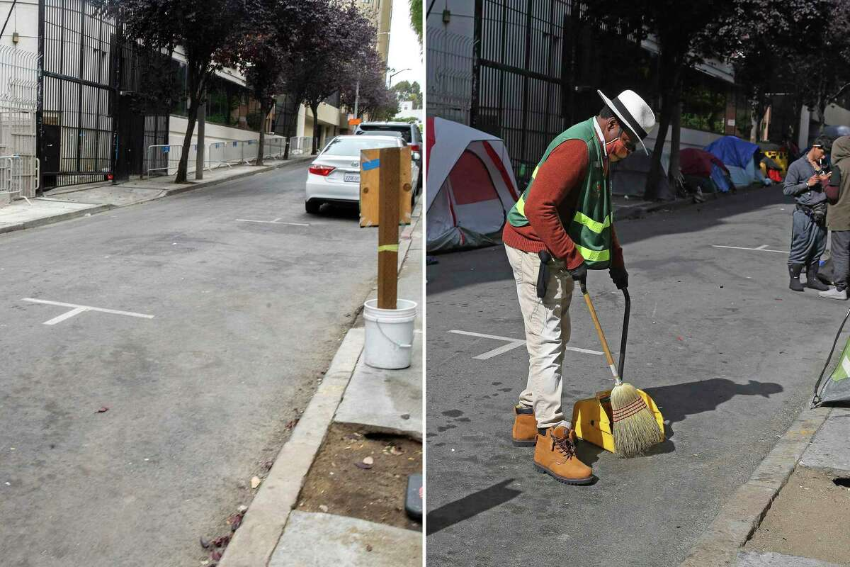 Larch Street between Van Ness Avenue and Franklin Street on Friday, July 24, 2020, in San Francisco, Calif. (left) Larch Street between Van Ness Avenue and Franklin Street on Friday, June 15, 2020, in San Francisco, Calif. (right). The city of San Francisco cleaned up Larch Street of encampments after complaints from residents.