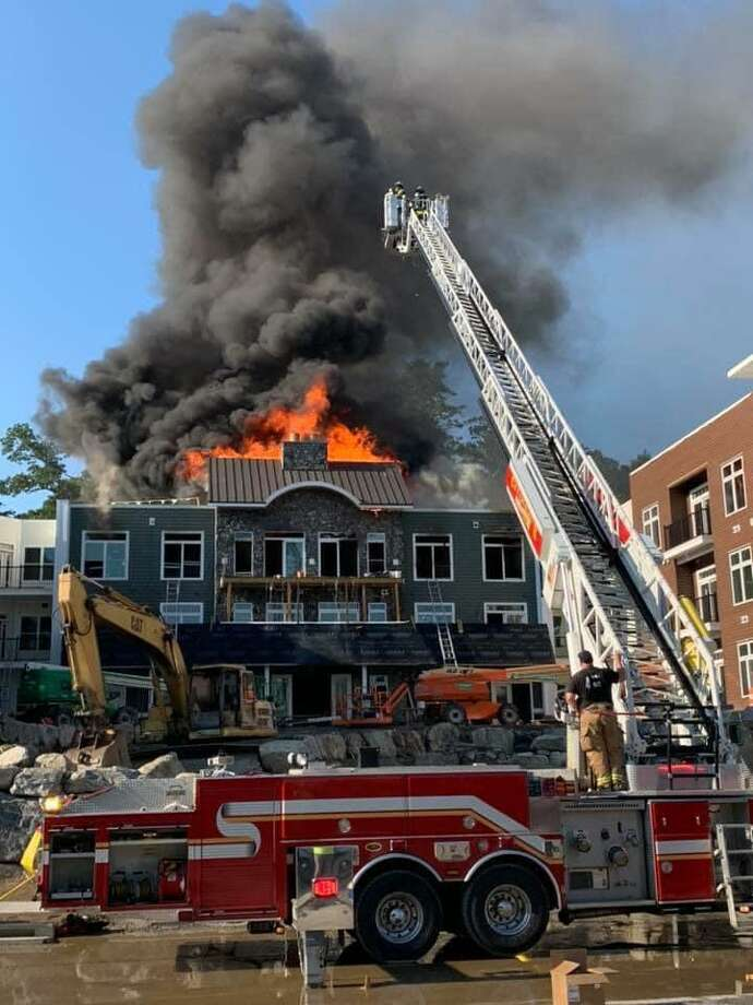Units on scene at a fire in Oxford, Conn., on Monday, July 27, 2020. Photo: Contributed Photo / Oxford Center Volunteer Fire Company