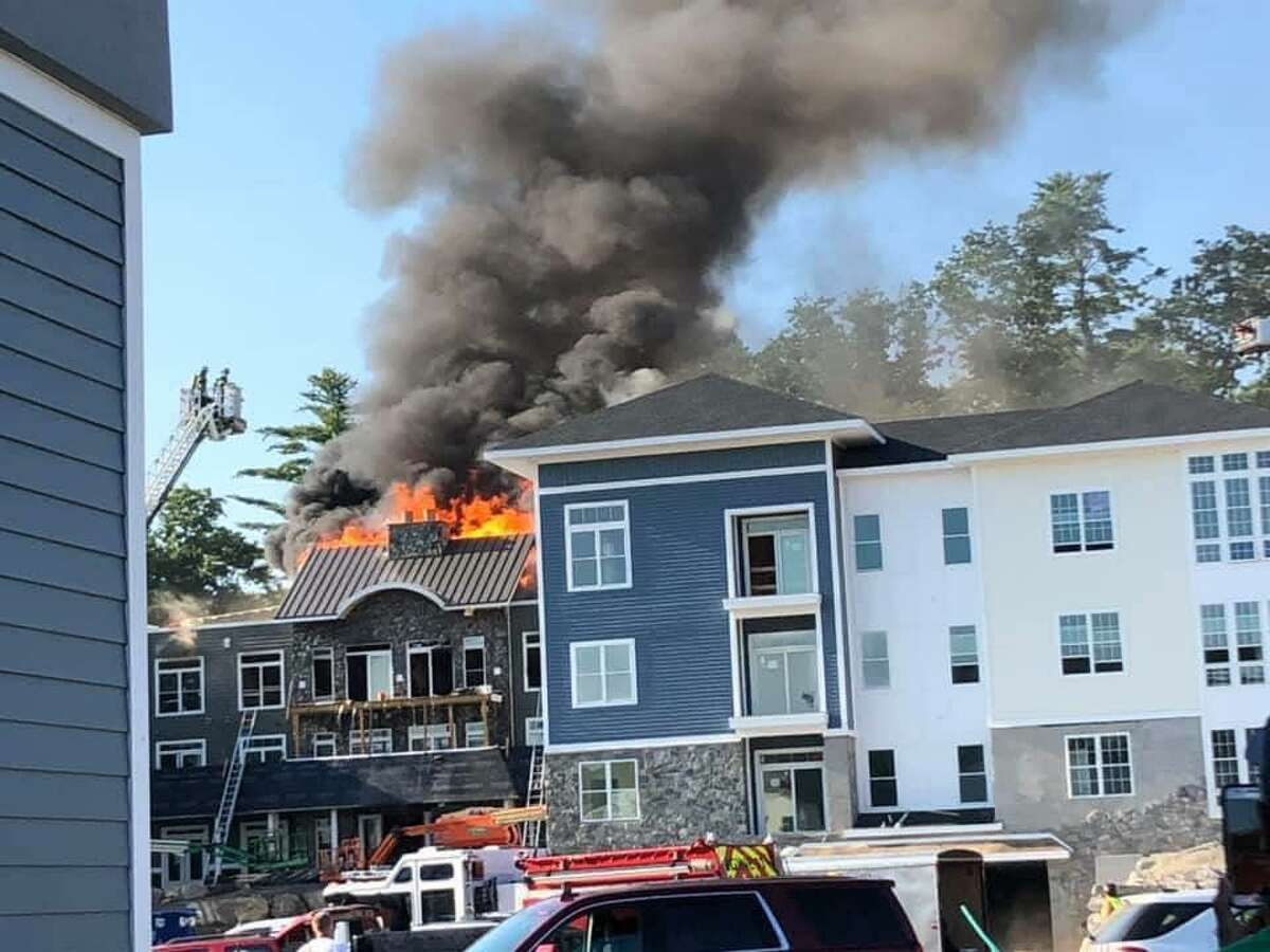 Units on scene at a fire in Oxford, Conn., on Monday, July 27, 2020.