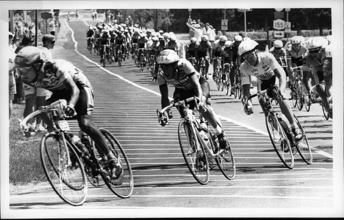 National Cycling Championship, Albany. Racers turn and head up Albany-Shaker Road near Heritage Park. July 29, 1990 (Times Union Archive)