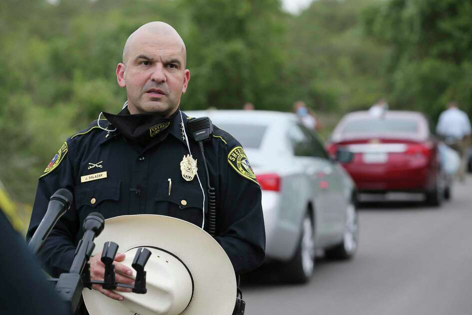 Bexar County Sheriff Javier Salazar talks to media as deputies investigate the appearance of a body near the intersection of Spanish Grant and LaSoya in far south Bexar County on Tuesday, July 28, 2020.