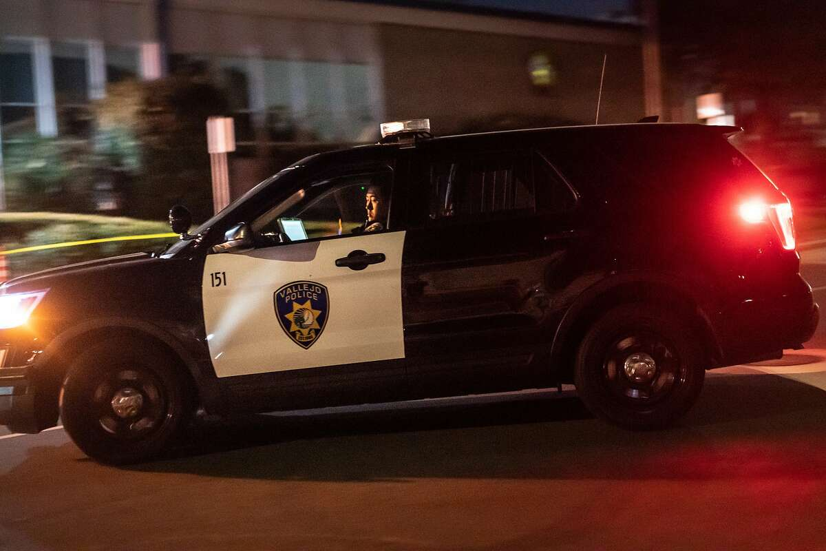 Vallejo Police Officer Kim turns his car around in front of police headquarters. Vallejo may have sustained its 14th homicide last night, outpacing all of last year of twelve on Thursday, July 16, 2020 in Vallejo, Calif.