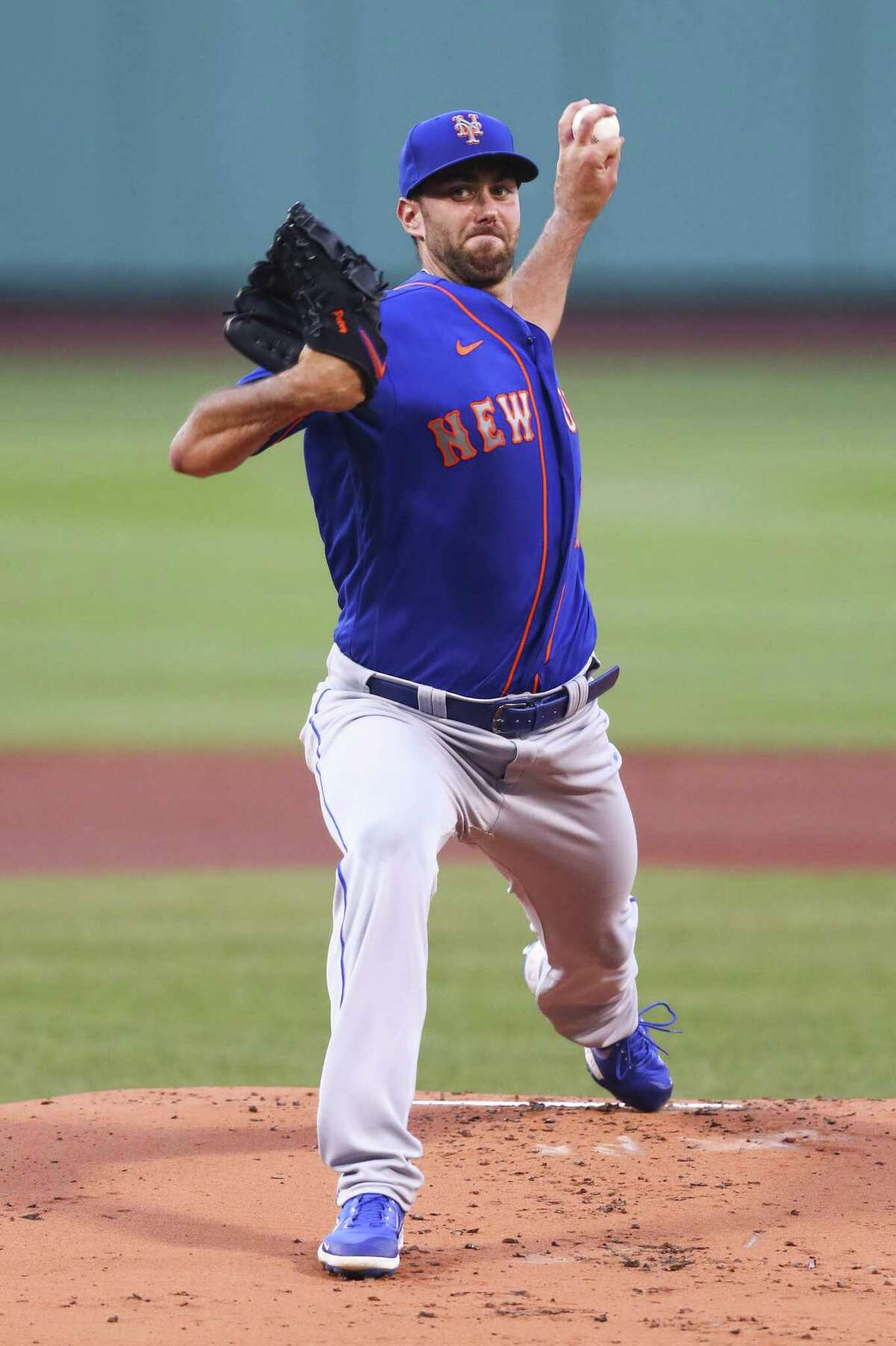 BOSTON, MA - JULY 28: David Peterson #77 of the New York Mets pitches in the first inning of a game against the Boston Red Sox at Fenway Park on July 28, 2020 in Boston, Massachusetts. (Photo by Adam Glanzman/Getty Images)