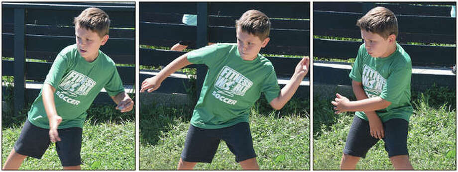 Chase Morrow, 7, the son of Brandon and Erin Morrow of Chapin, skips rocks Tuesday at Lake Mauvaisterre. Photo: Samantha McDaniel-Ogletree | Journal-Courier