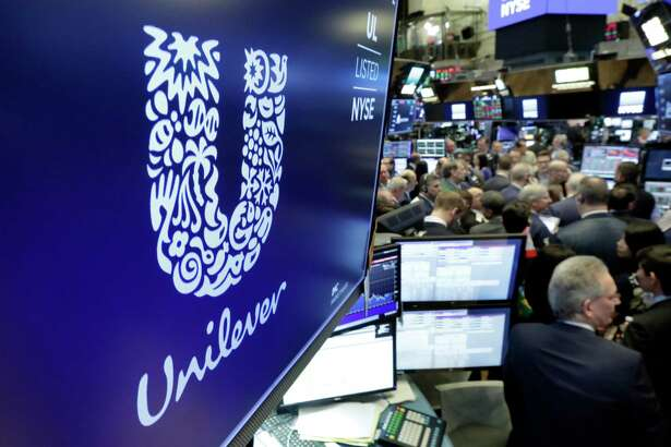 The Unilever logo on the floor of the New York Stock Exchange.