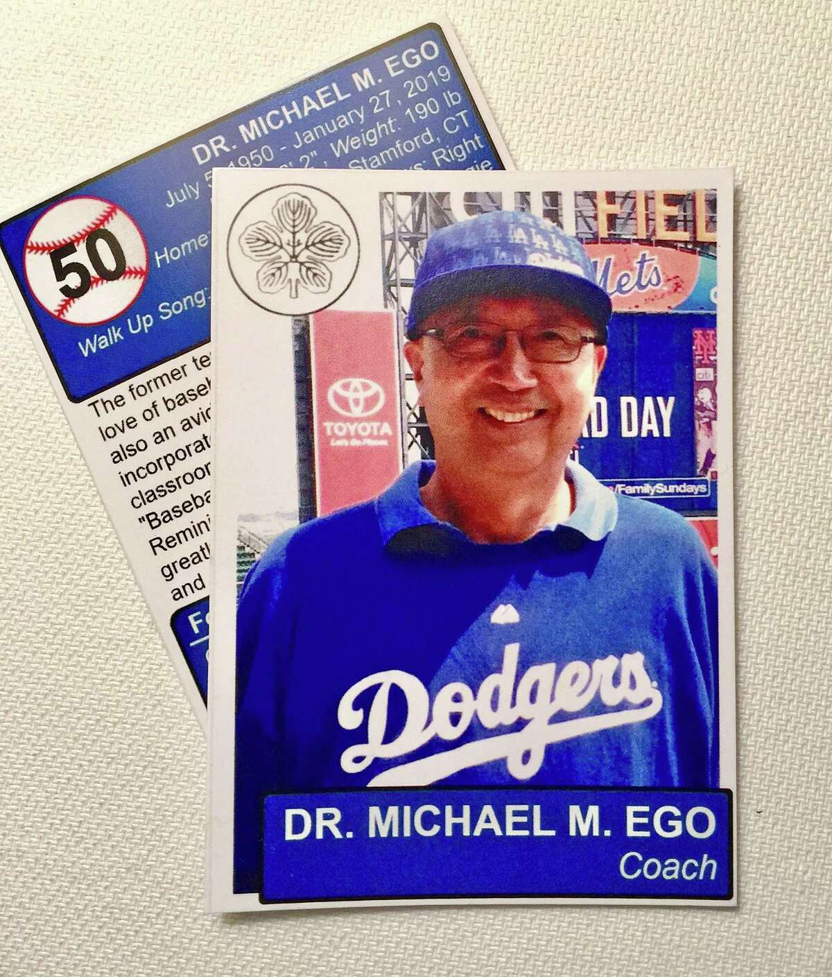 A faux baseball card of University of Connecticut professor Michael Ego, who died Jan. 27, 2019 at age 68. Ego started a baseball reminiscence program at River House Adult Day Center in Greenwich.