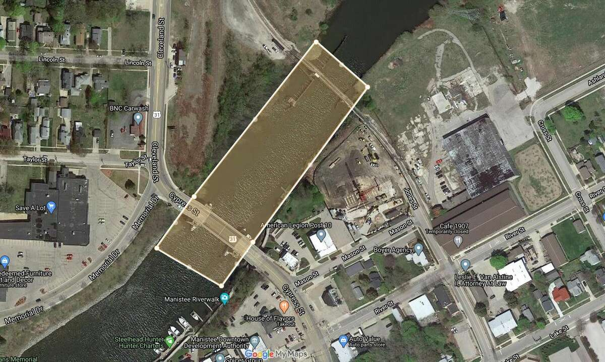 This is an approximation of where Consumers Energy is completing dredging activities in the Manistee River as part of its ongoing environmental remediation project that started about three years ago. The project is expected to be complete by the end of this year.