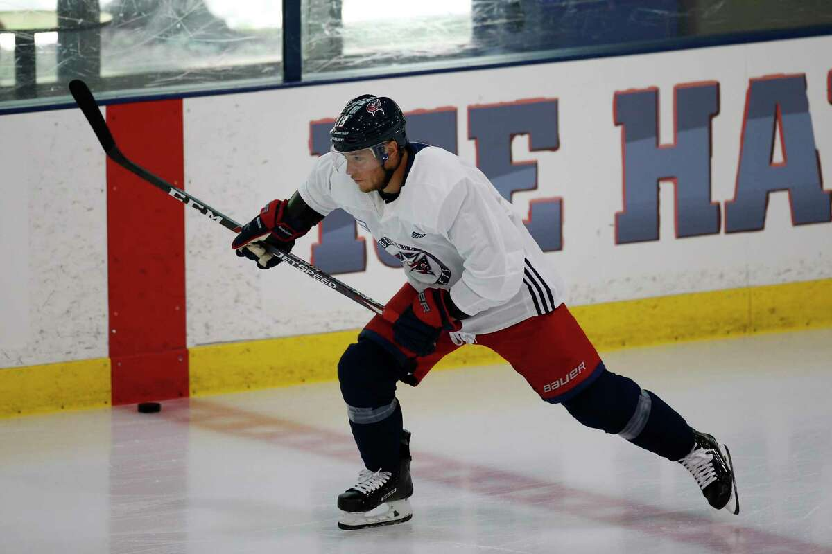 Columbus Blue Jackets' Cam Atkinson of Greenwich runs a drill during the NHL hockey team's practice on July 20.