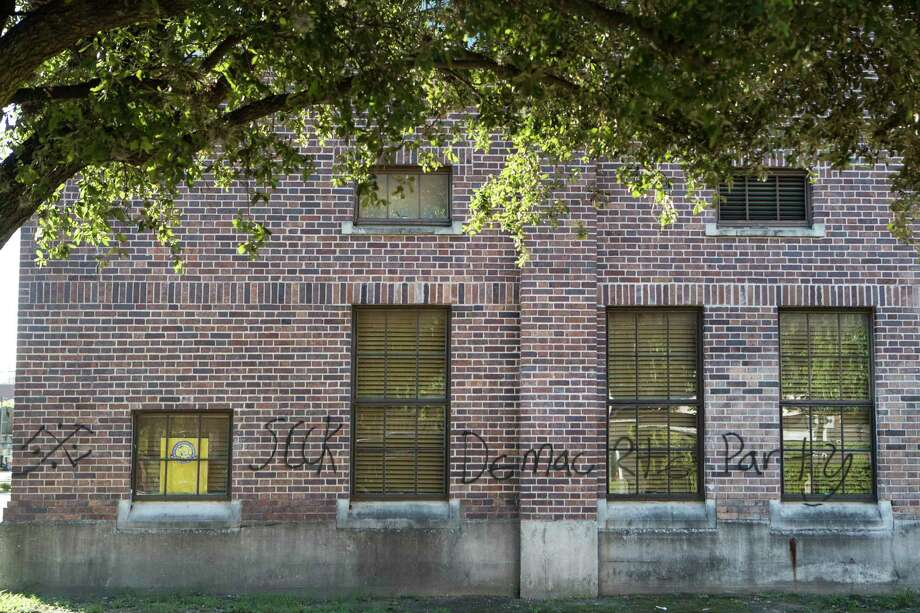 An apparent swastika and other wording are spray painted on the Buffalo Soldiers National Museum on Wednesday, July 29, 2020 in Houston. The vandalism happened sometime between Monday and Tuesday according to reports. The museum, founded in 2001, is dedicated to honoring the legacy of African American soldiers. Photo: Brett Coomer, Staff Photographer / © 2020 Houston Chronicle