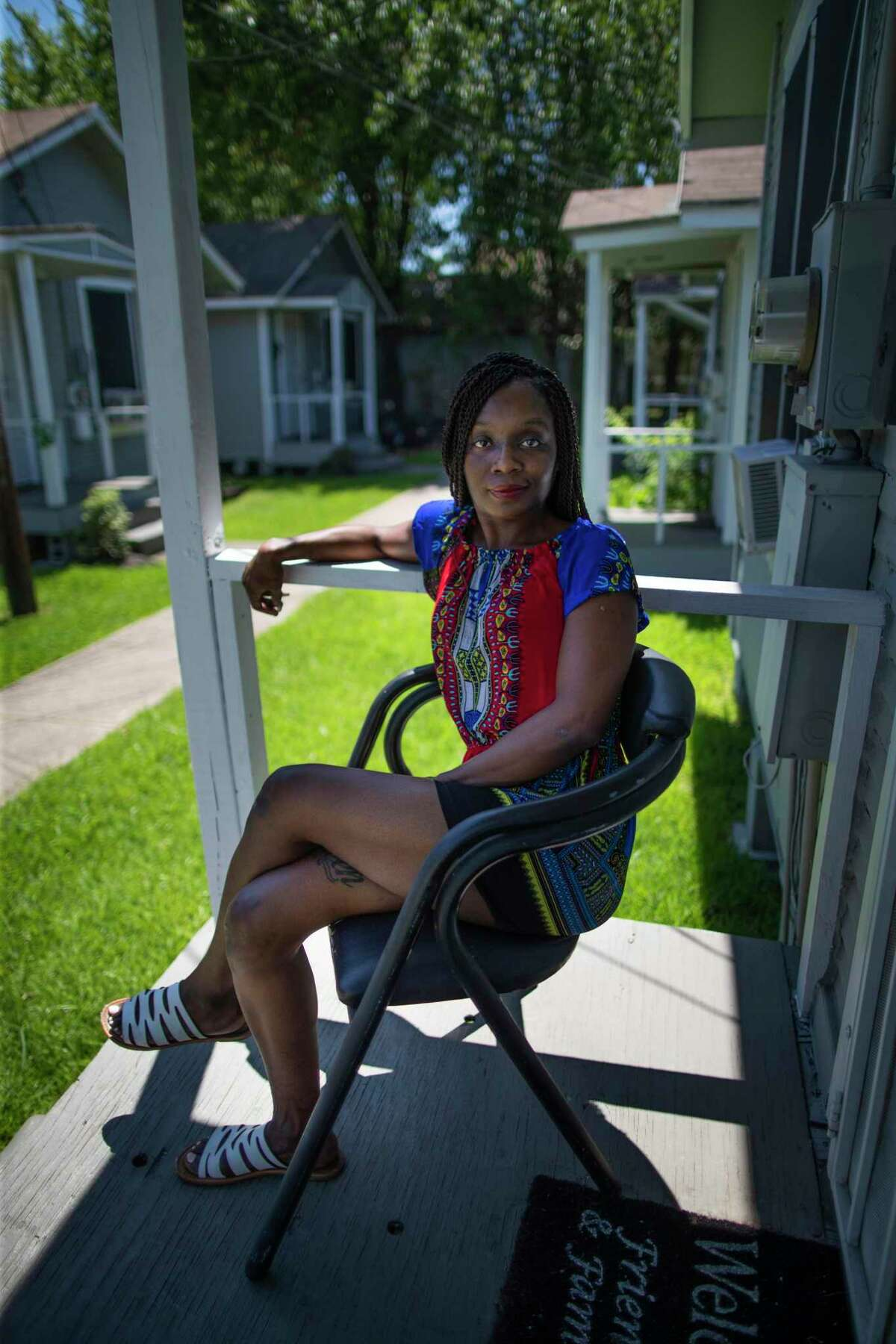 Chris Senegal's tenant Carolyn Young, 40, at her home located in Senegal's development in Fifth Ward on Saturday, June 13, 2020, in Houston.