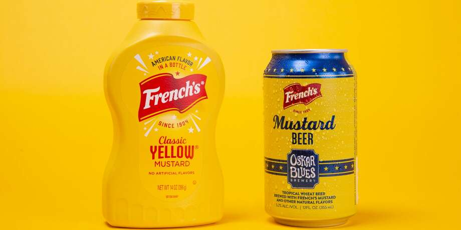 French's Just Released a Mustard Beer: French's has partnered with Oskar Blues Brewery to create Mustard Beer. The tropical wheat beer is brewed with French's Classic Yellow Mustard and infused with key lime, lemon, tangerine, and passion fruit. Photo: French's