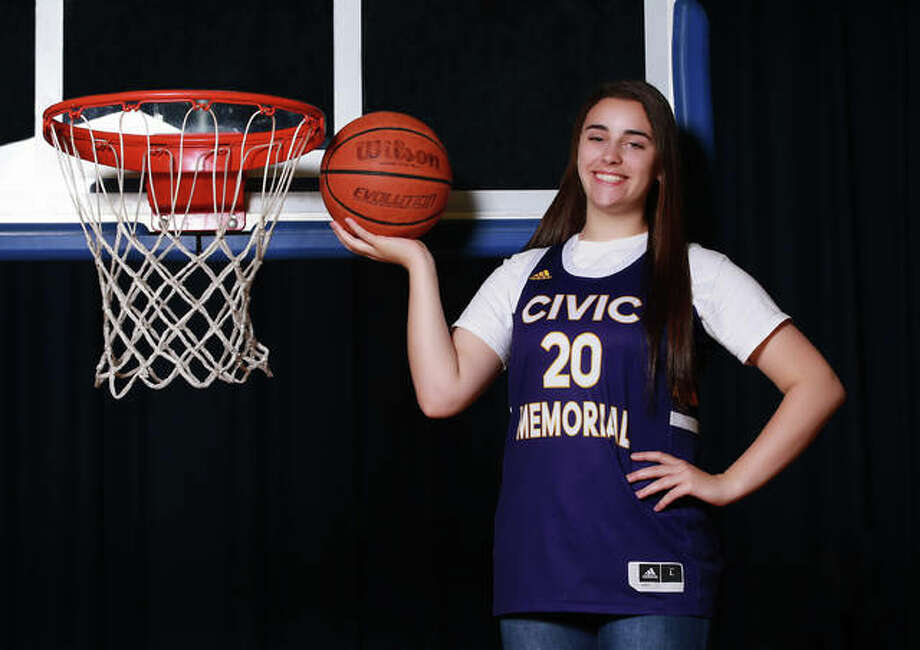Civic Memorial's Anna Hall is the 2020 Telegraph Large-Schools Girls Basketball Player of the Year. Hall, No. 3 on CM's all-time scoring list with 1,700 points, also won the award last season as a junior. Photo: Billy Hurst, Front Row Photo / For The Telegraph