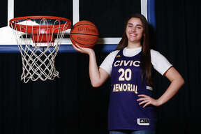 Civic Memorial's Anna Hall is the 2020 Telegraph Large-Schools Girls Basketball Player of the Year. Hall, No. 3 on CM's all-time scoring list with 1,700 points, also won the award last season as a junior.
