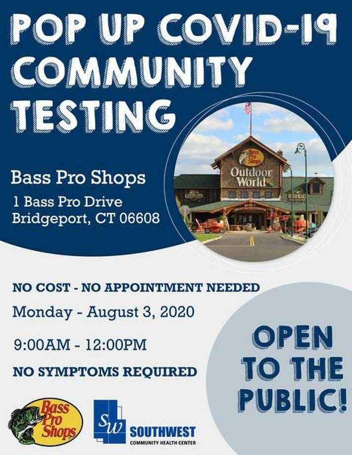 Southwest Community Health Center is partnering with Bass Pro Shop in Bridgeport to offer free COVID-19 testing on Monday. Photo: Southwest Community Health Center