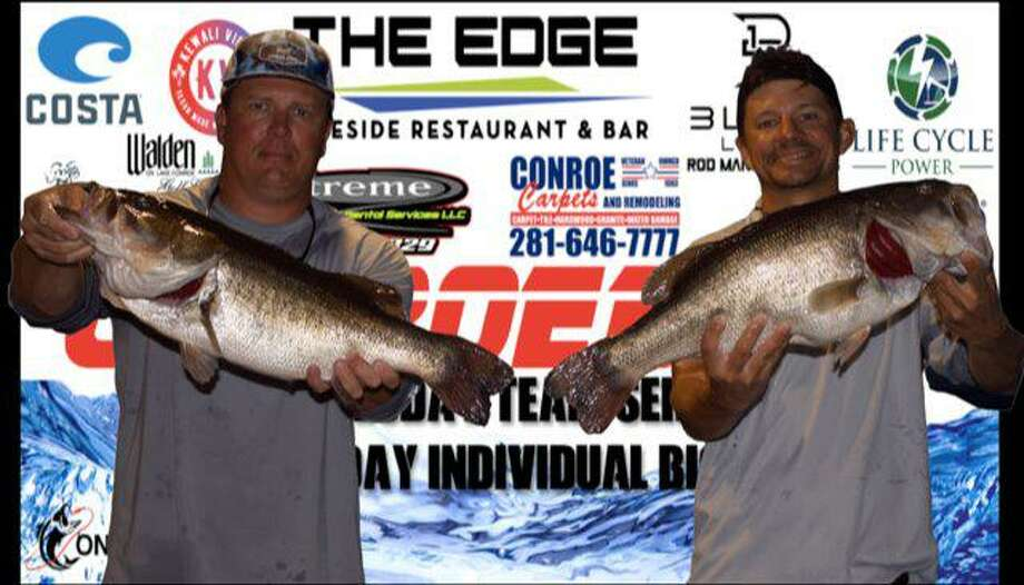 Nick Morton and Langston Johnson won the CONROEBASS Tuesday Night tournament with a stringer weight of 16.44 pounds. Photo: Conroe Bass