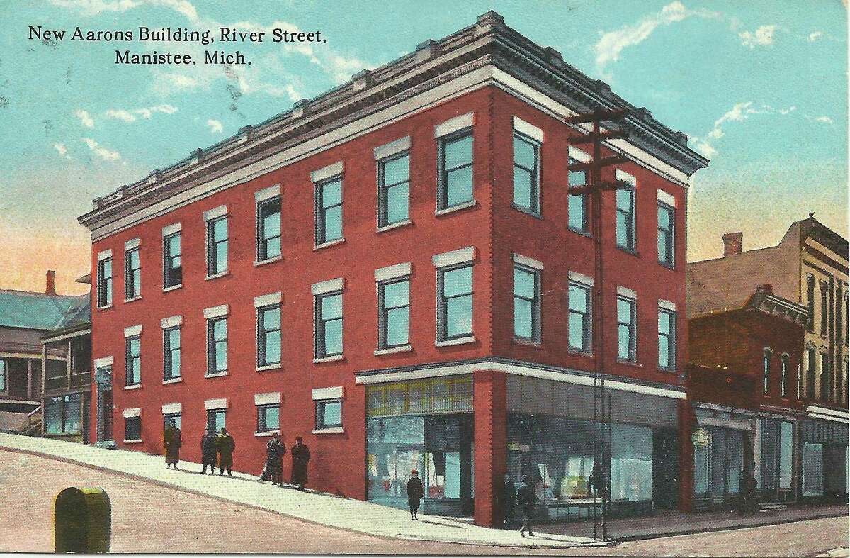 The Aarons Building, located on the corner of River and Greenbush, was constructed in 1911. (Manistee County Historical Museum/Courtesy photo)
