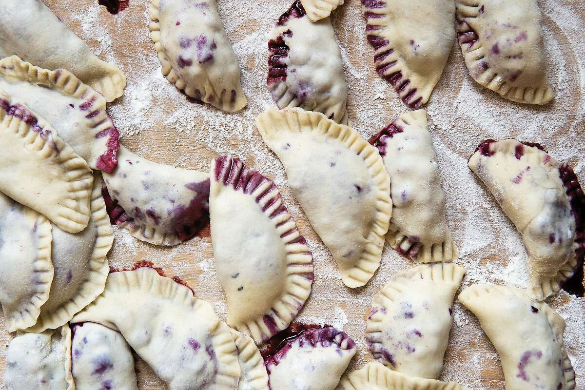 """Blueberry pierogi from the cookbook, """"Fresh from Poland."""""""