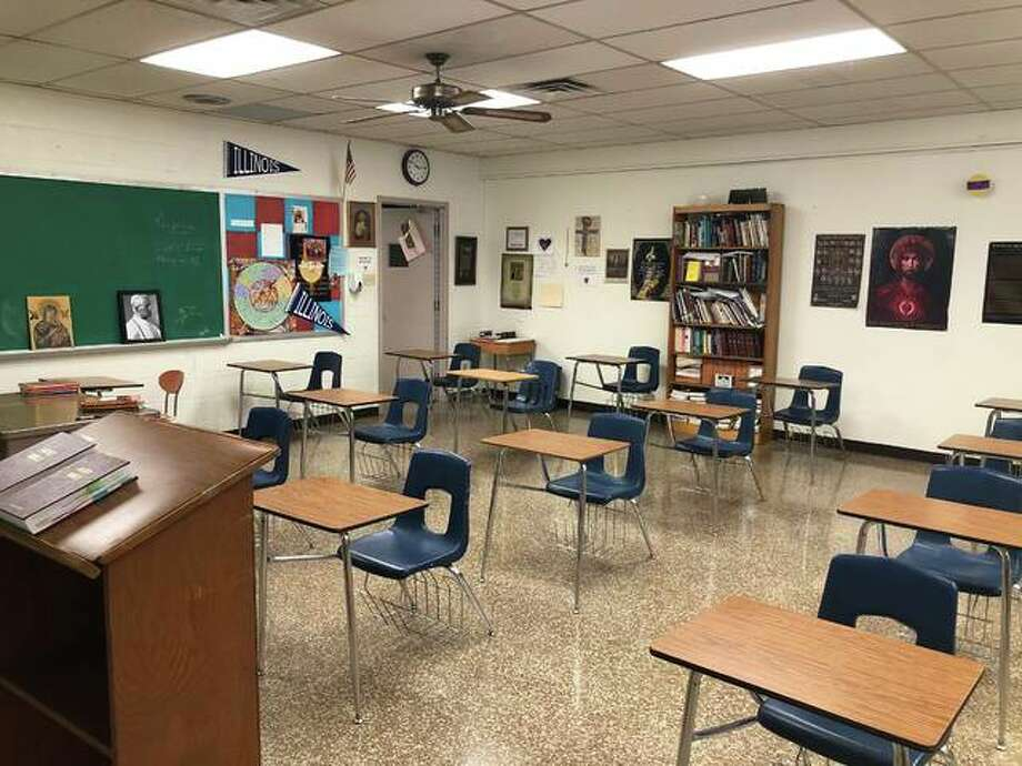 Routt Catholic High School will reopen for in-person learning. Desks will be spaced out to provide separation and moved to face one direction. Photo: Photo Provided