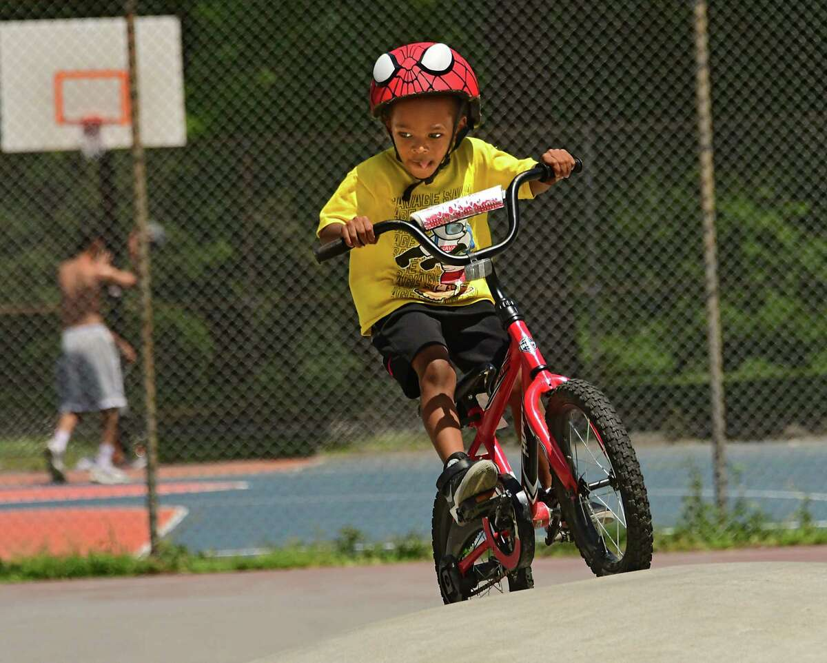 Gavin Franklin, 4, of Albany practices his bike skills at the Washington Park skate park on Wednesday, July 29, 2020 in Albany, N.Y. (Lori Van Buren/Times Union)