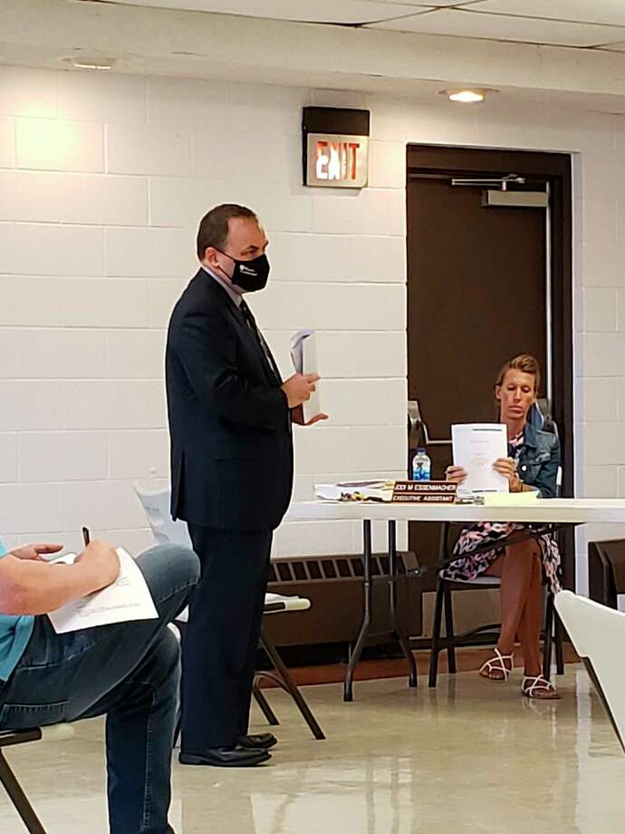 Aaron Stevens giving his presentation of the Huron County audit for the 2019 fiscal year. (Robert Creenan/Huron Daily Tribune)