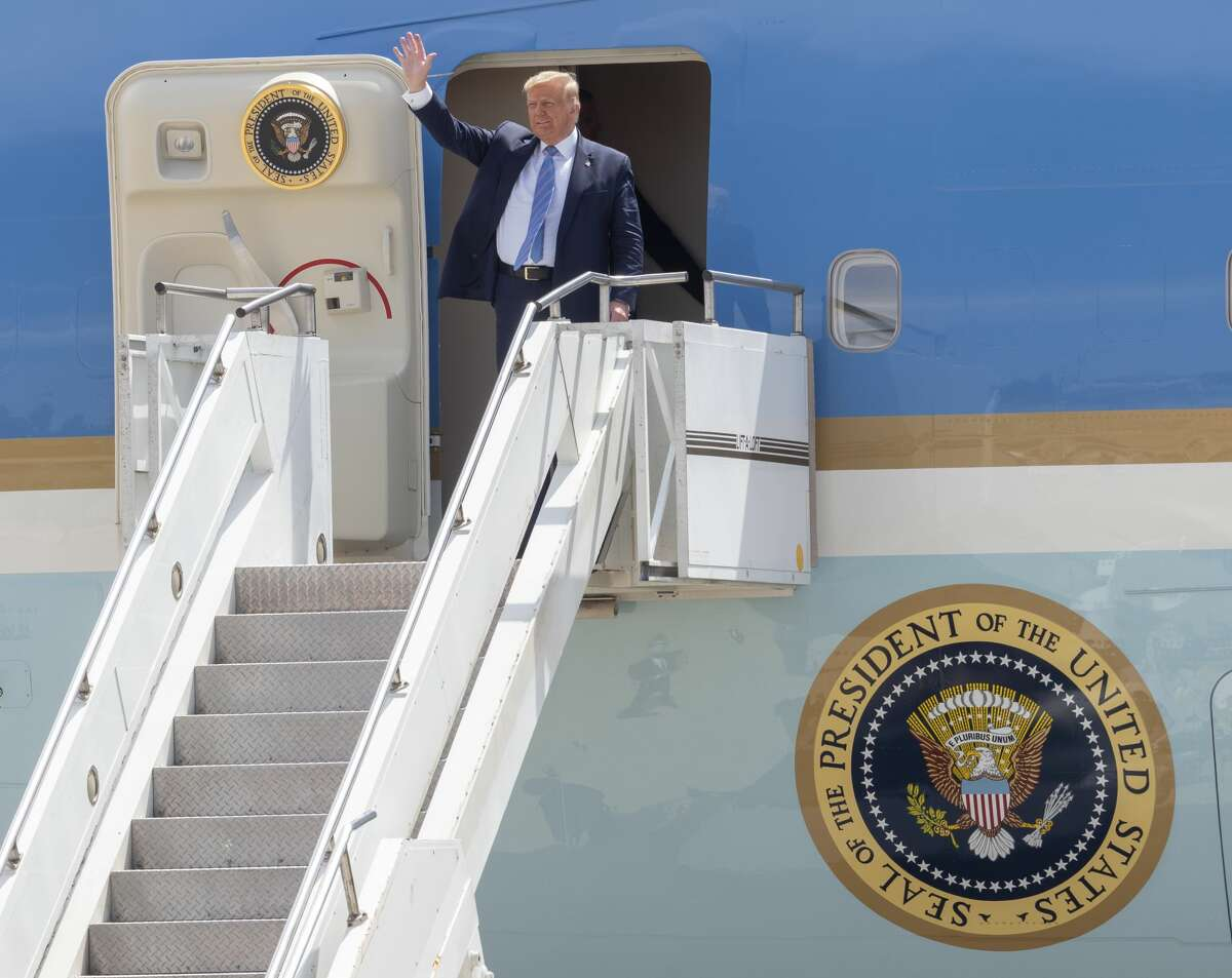 President Trump arrives on Air Force One 07/29/2020 at the Midland International Air & Space Port. Tim Fischer/Reporter-Telegram