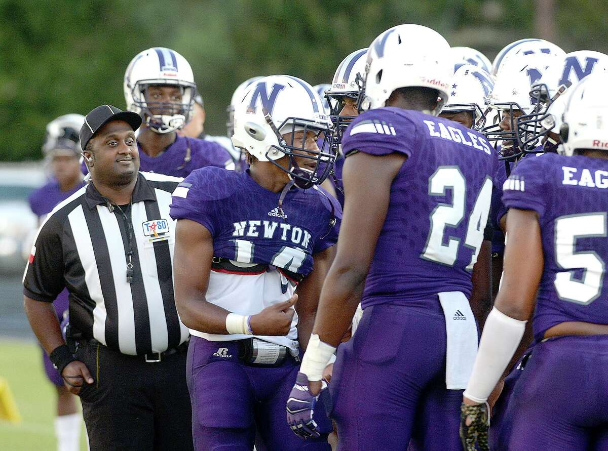 Newton's sidelines pump after after the opening coin toss as they get ready to face Silsbee during their non-district match-up Friday at Newton High School. Friday, September 07, 2018 Kim Brent/The Enterprise