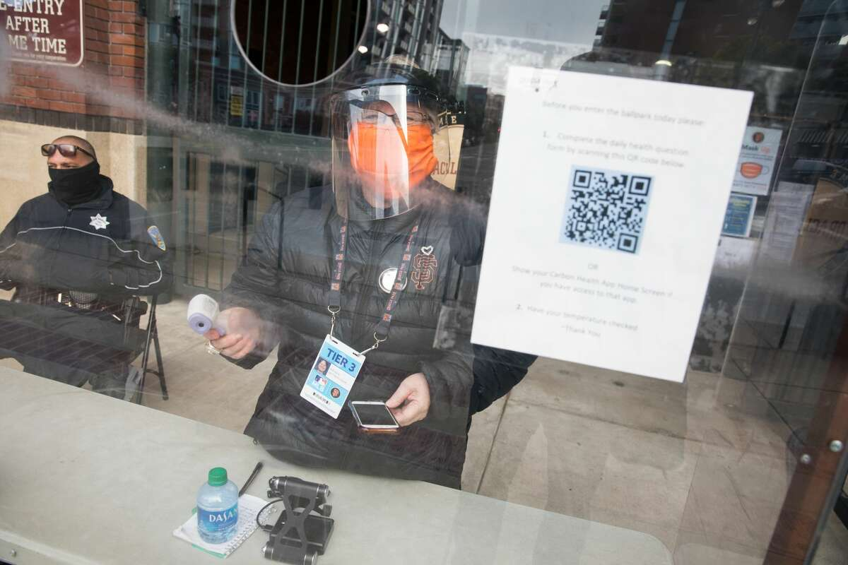 A Giants employee screened all incoming media, including taking their temperature, to make sure they do not show any illness symptoms. It was one of the many precautions the team took because of the coronavirus pandemic.