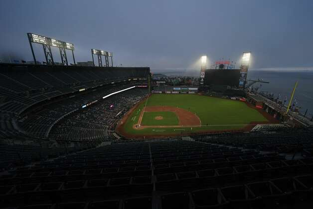 Up in the view level of Oracle Park, seats were empty with no fans able to enjoy the stunning views of the surrounding Bay Area. Photo: Jeff Chiu/Associated Press / Copyright 2020 The Associated Press. All rights reserved