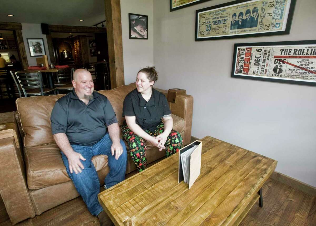 Note Restaurant owner Tony Heslin with chef Calin Sauvron relaxing in the restaurant at 227 Greenwood Avenue in Bethel. Monday, July 11 2016 Sauvron grew up in Connecticut and