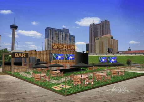 An artist's rendition of the finished space of Smoke BBQ Restaurant, located at 501 E. Crockett St.