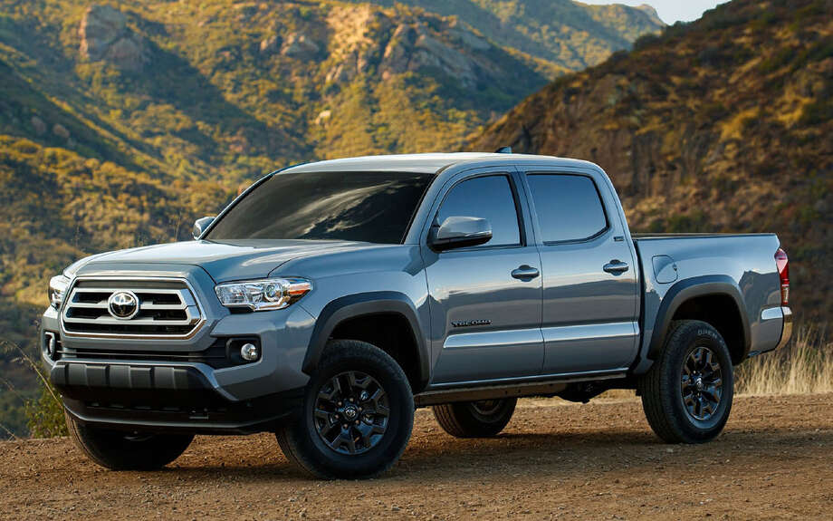 Toyota's 2021 Tacoma Trail Edition is upgraded with dark-gray 16-inch TRD Off-Road wheels and Kevlar-reinforced all-terrain tires, and a grille from the high-end Tacoma Limited. Photo: Motor Matters