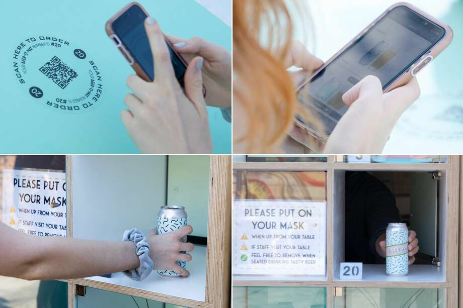 (Clockwise from top left) Using a cellphone, a customer scans a QR code, picks their beer choice, then picks up the delivery in Temescal Brewing's Beer-O-Mat. Photo: Douglas Zimmerman/SFGATE / SFGATE