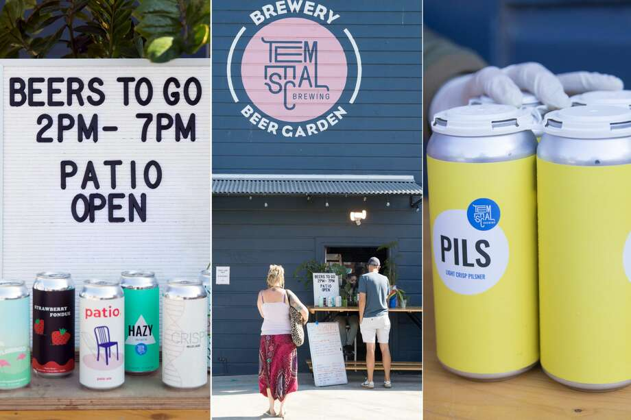 (Left to right) A selection of beers available, customers ordering to-go orders, and a four-pack of cans delivered to customers using Temescal Brewing's t0-go service. Photo: Douglas Zimmerman/SFGATE / SFGATE