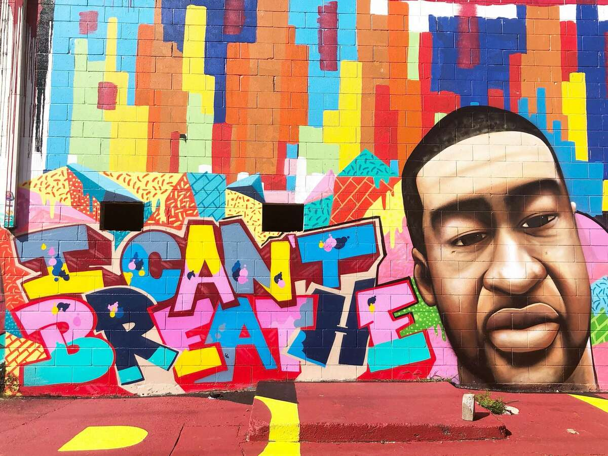 This mural of George Floyd was seen in East Houston on Wednesday, July 29, 2020.