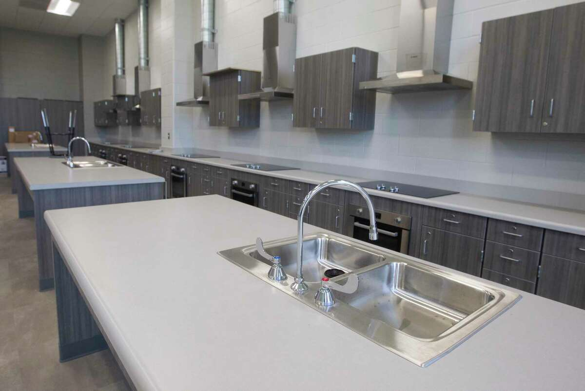 Counters are seen inside the culinary class at the new Donald J. Stockton Junior High School, Wednesday, July 29, 2020, in Conroe.